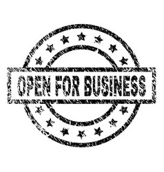 scratched textured open for business stamp seal vector image