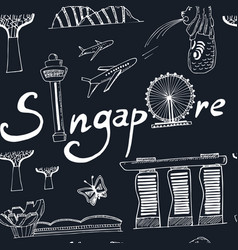 Seamless pattern singapore hand drawn icons vector