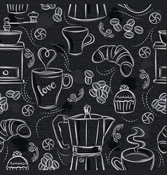 Seamless patterns with coffee set coffee maker vector