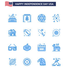 Set 16 modern blues pack on usa independence vector