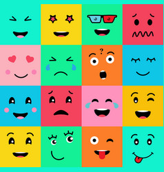 set of 16 funny emotion emojifaces on background vector image
