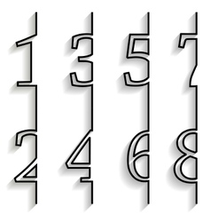 Set of numbers with long shadow vector image