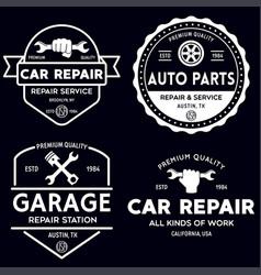 Set of vintage monochrome car repair service vector