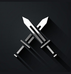 Silver crossed medieval sword icon isolated on vector