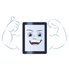 Smiling powerful tablet computer 2 vector image