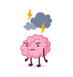 Stressed pink brain with cloud and lightning over vector