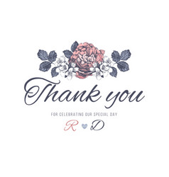 thank you wedding card vector image