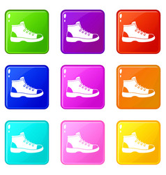 Tourist shoe set 9 vector