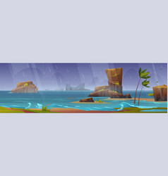 tropical storm on ocean beach with palm trees vector image