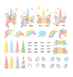 unicorn elements flat set vector image