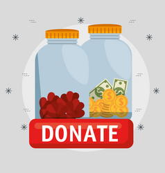 Urn with money charity donation vector