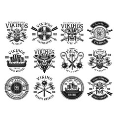 vikings and scandinavian warriors emblems vector image