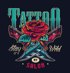 vintage tattoo studio colorful logo vector image