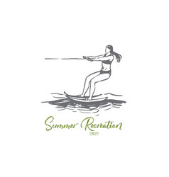 water skiing sea summer water activity vector image