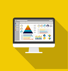web statistics analytic charts on computer screen vector image