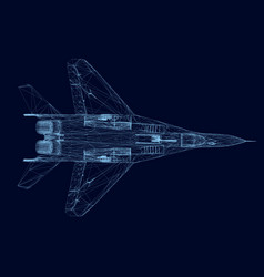 Wireframe of a fighter of blue lines on a dark vector