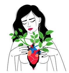 Woman with blooming heart vector