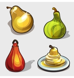 Yellow and green pear purse dessert four icon vector image