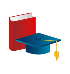 color silhouette with book and graduation hat vector image