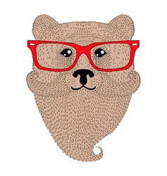 Cute brown bear portrait with french mustache vector image vector image