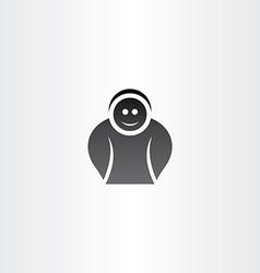 funny black icon man vector image vector image