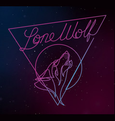 lone wolf continuous line vector image vector image