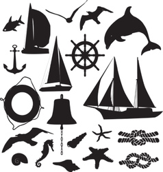 set of silhouettes symbolizing the marine leisure vector image vector image