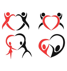 Abstract people heart symbol vector image vector image