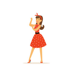 beautiful young woman in a red polka dot dress vector image vector image