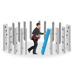 domino effect visualization with businessman in vector image vector image