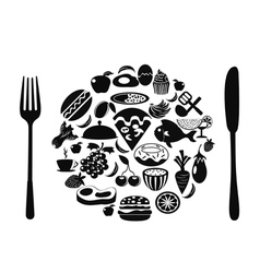 food symbol with food icons vector image