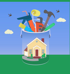 house with tool in colorful design vector image