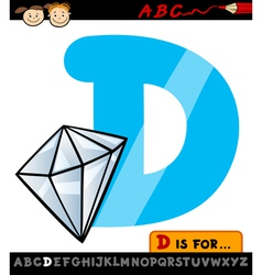 letter d with diamond cartoon vector image