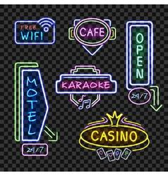 Neon Signboards Realistic Night Collection vector image