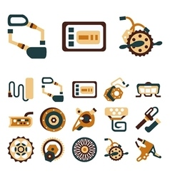 Simple flat color icons for e-bike vector image