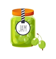 Sweet Gooseberry Green Jam Glass Jar Filled With vector image
