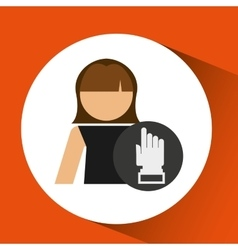 woman hand pointing up icon design vector image