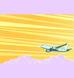 aviation aircraft flying above the clouds vector image vector image