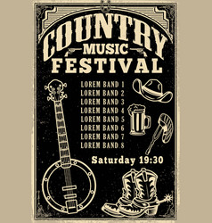 country music festival poster template cowboy hat vector image vector image