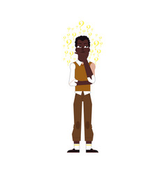 flat adult african black man thinking vector image