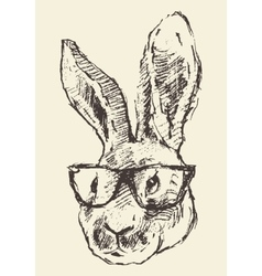Rabbit head hipster glasses hand drawn sketch vector image