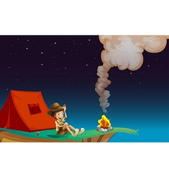 A boy with tent near the cliff vector image