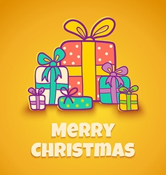 Christmas gifts yellow vector image vector image