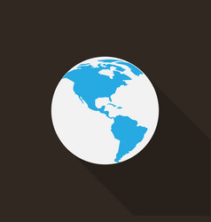 earth icon with long shadow vector image