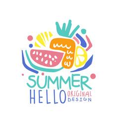 hello summer logo template original design vector image vector image