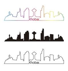 Khobar skyline linear style with rainbow vector image vector image