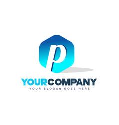 p letter logo hexagon shape modern design vector image vector image