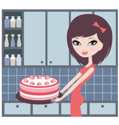 pretty girl holds a pie vector image vector image