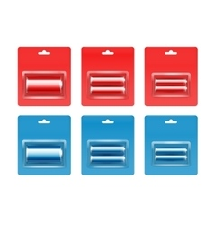Red blue alkaline aa aaa batteries in packed vector