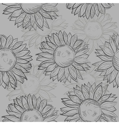 seamless pattern sunflowers Abstract gray black vector image